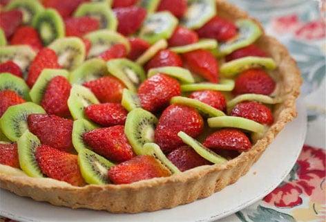 Tarte aux fraises kiwi et crème pistache thermomix