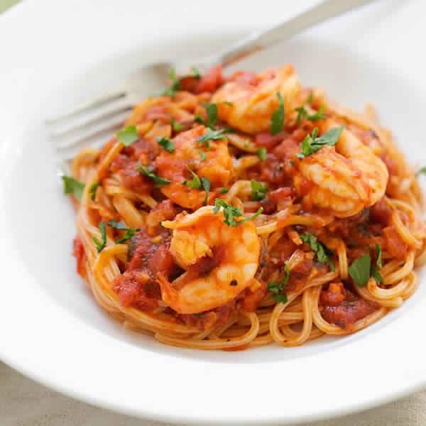 Spaghettis aux crevettes thermomix