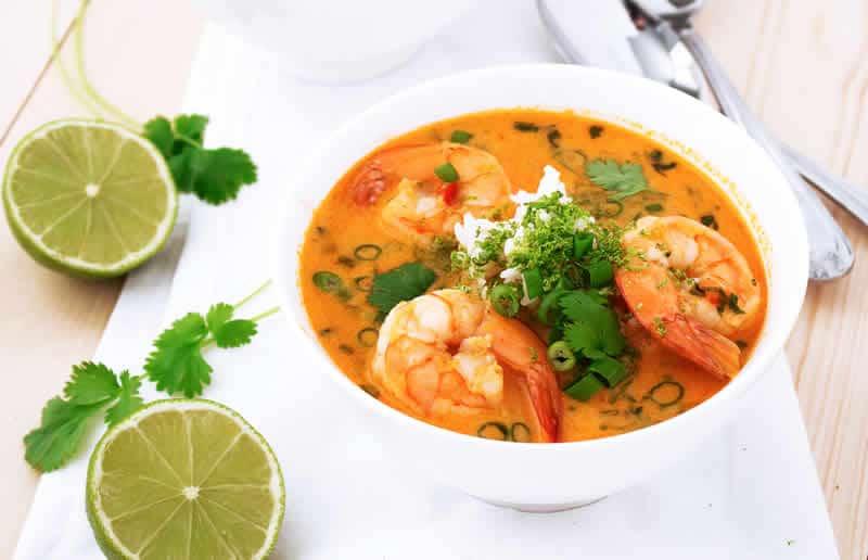 Soupe thaï aux crevettes avec thermomix