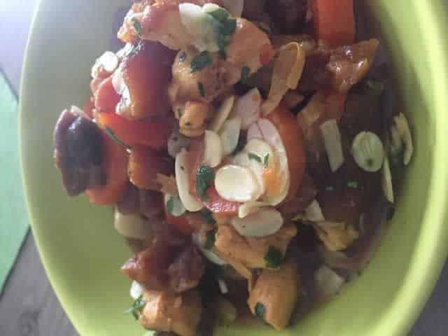 Tajine de poulet abricot et amande au Cookeo
