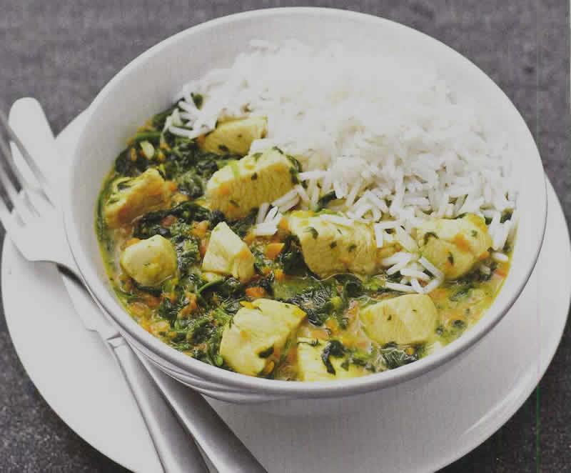 Poulet curry au épinard avec thermomix