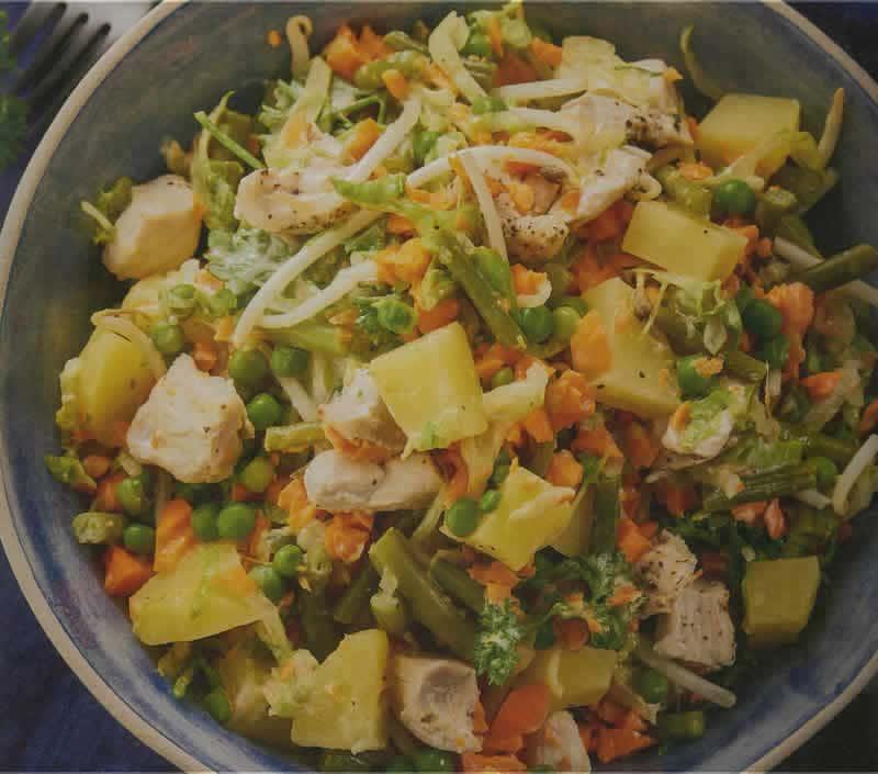 Salade de pomme de terre légumes et poulet au thermomix