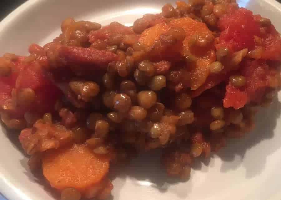 Lentille chorizo au Cookeo