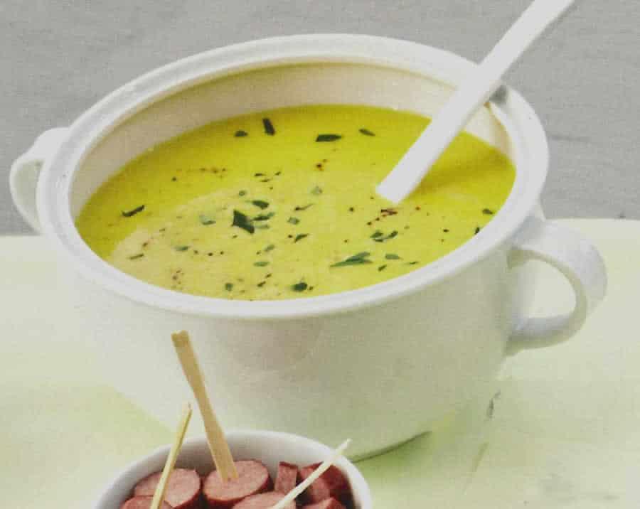 Soupe maïs et poivrons avec pâte de curry verte au thermomix