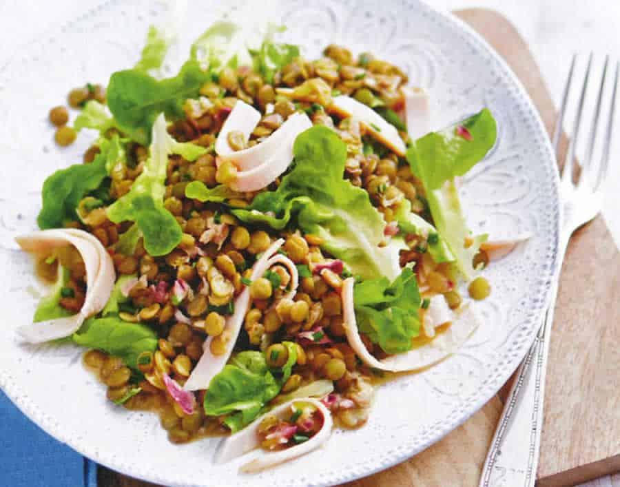 Salade des lentilles et poulet fumé au thermomix