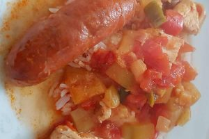 Poulet chorizo tomates poivrons courgette au cookeo