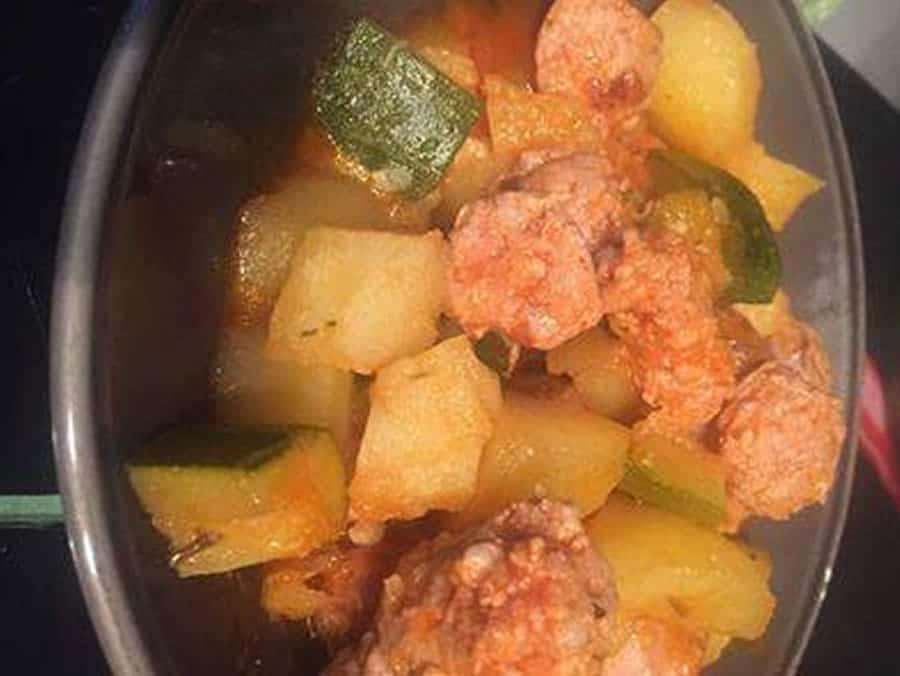 Saucisses de Toulouse et pomme de terre courgettes au cookeo