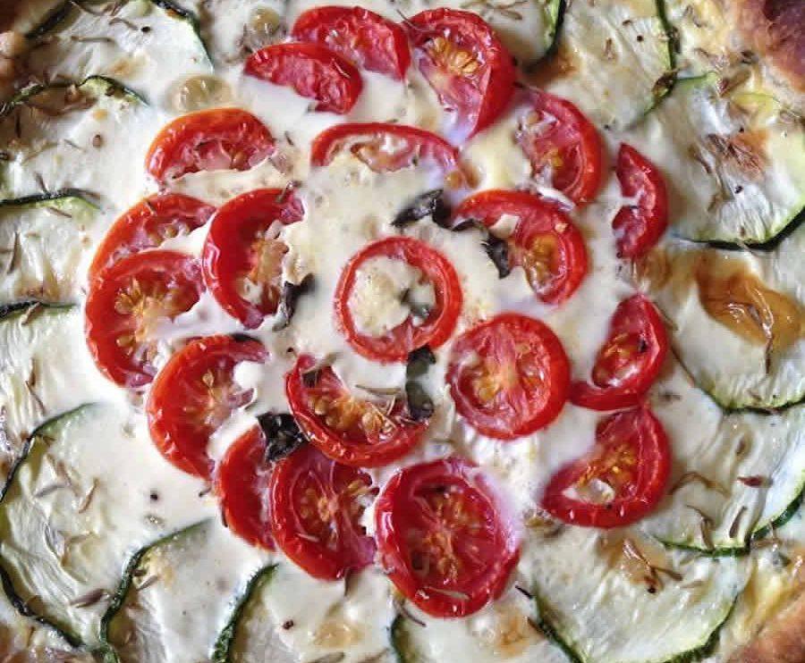 Tarte courgettes tomates lardons et chèvre au thermomix