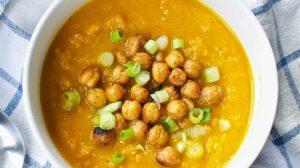 Soupe potiron carotte et pois chiche