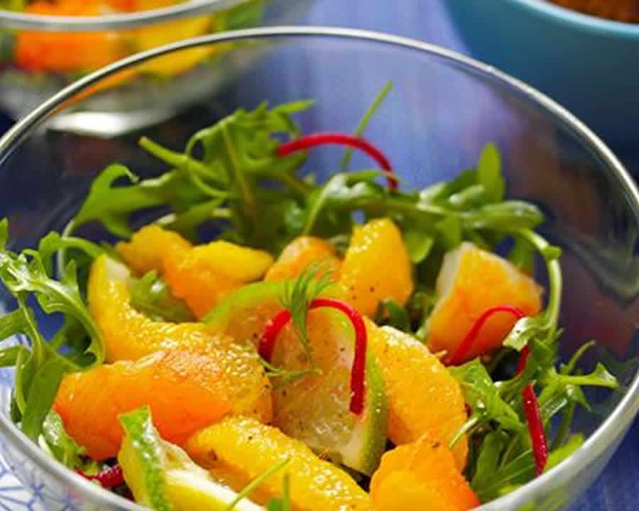 Salade roquette et vinaigrette à l'orange et la moutarde Recette WW