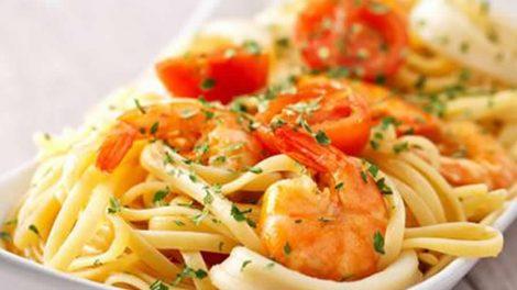 Spaghettis aux crevettes et tomates Recette WW