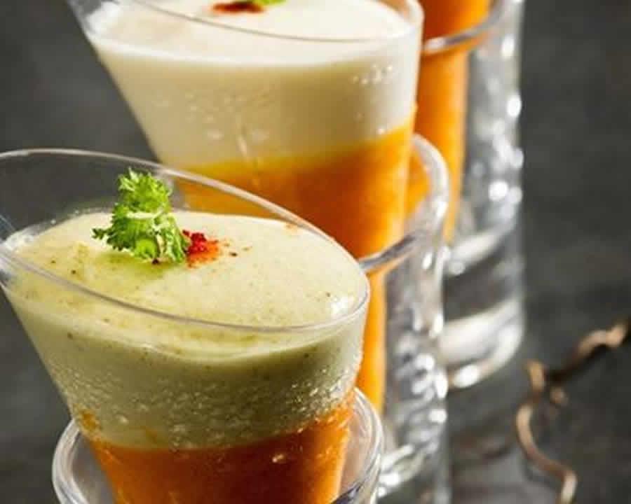 Verrines de crème de carottes et mousse de chèvre au thermomix