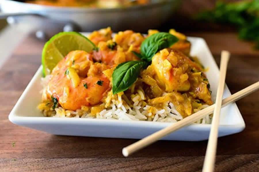 Curry thaï de crevettes au lait de coco au Thermomix
