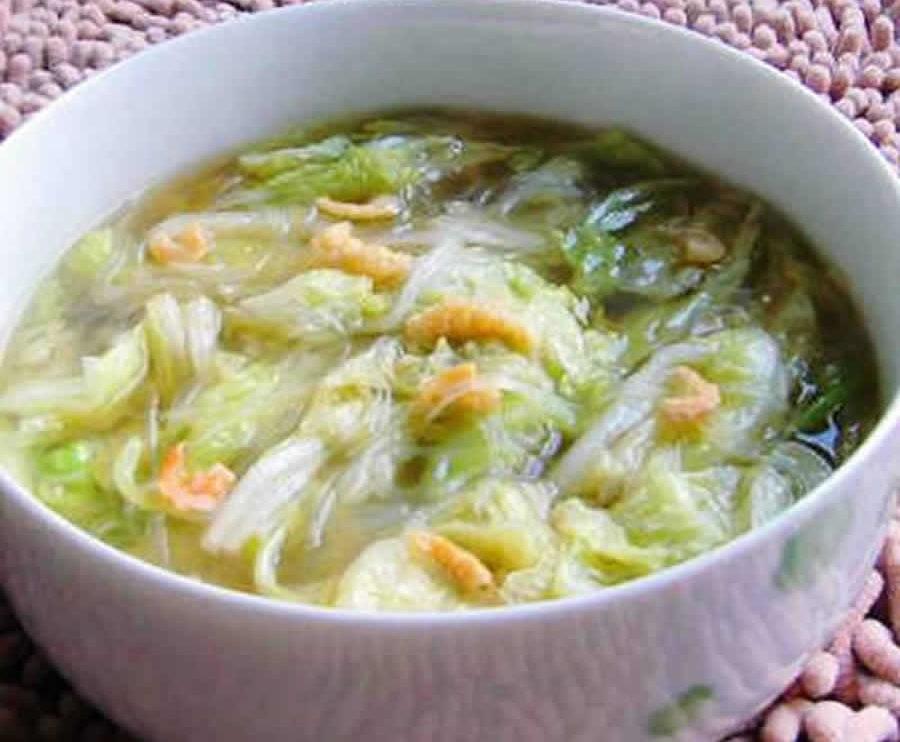 Soupe de chou chinois aux crevettes au Thermomix