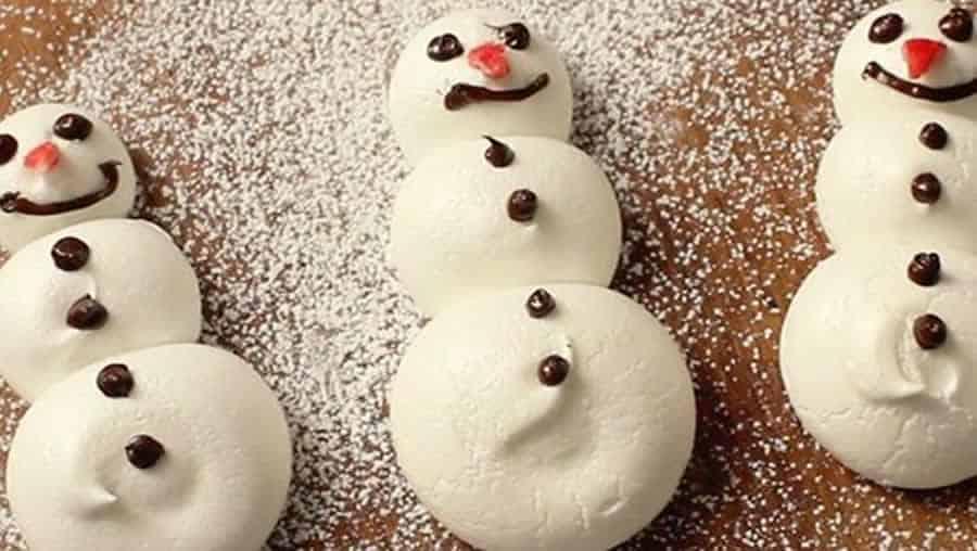 Bonhomme de neige en meringue au Thermomix