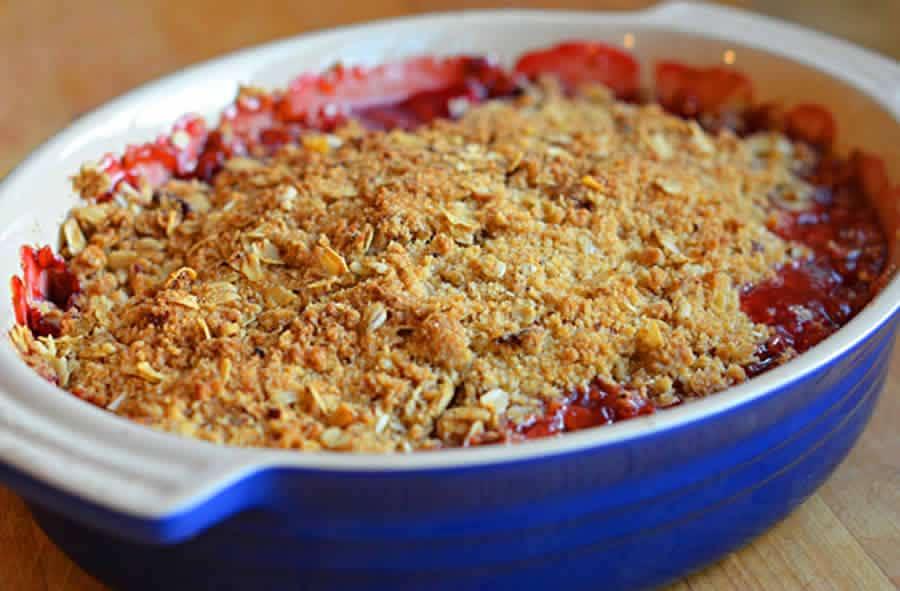 Crumble à la rhubarbe et aux fraises au Thermomix