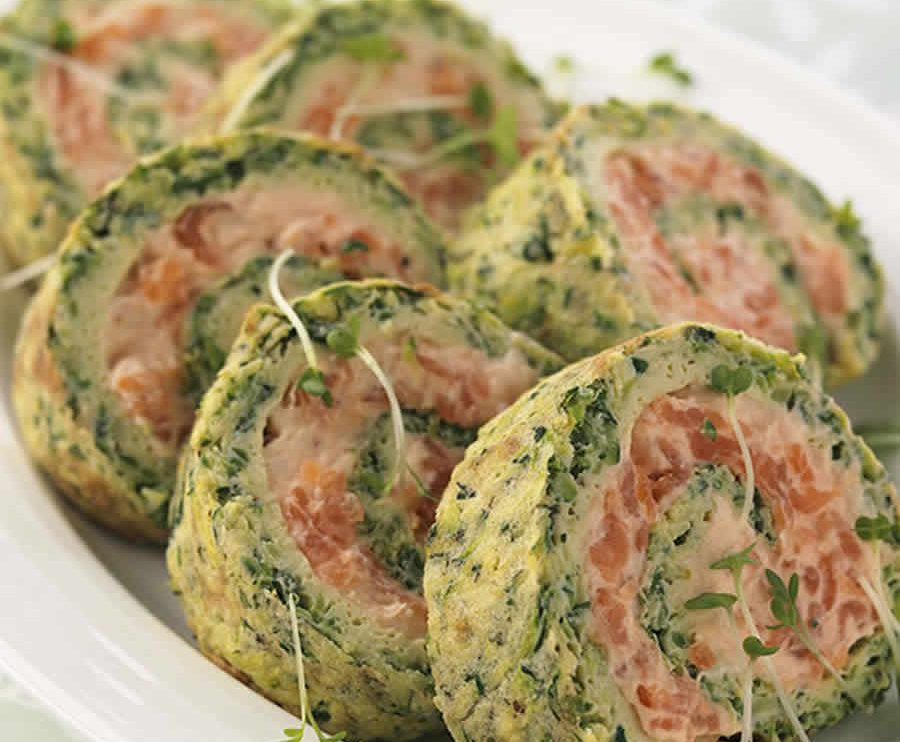 Roulé de courgettes au fromage et au saumon fumé au Thermomix