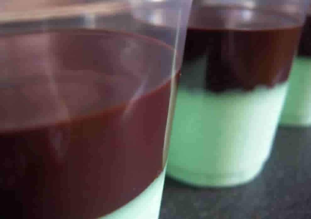 Crème à la menthe et coulis au chocolat au Thermomix