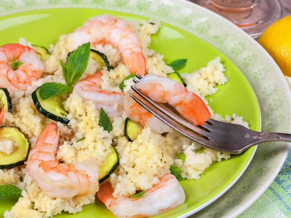 Couscous Léger aux crevettes et aux courgettes parfait pour l'été