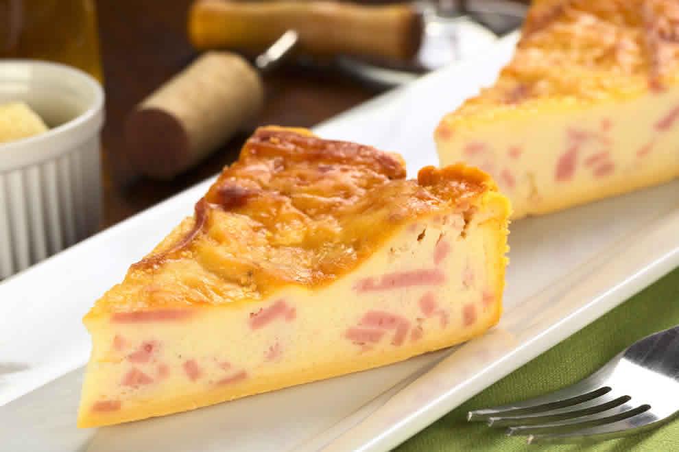 Quiche léger au jambon et fromage