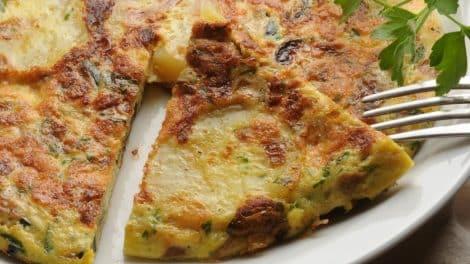 Superbe Tortilla aux courgettes, pomme de terre chorizo et bacon