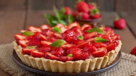 Tarte Légère aux fraise avec pâte sans beurre